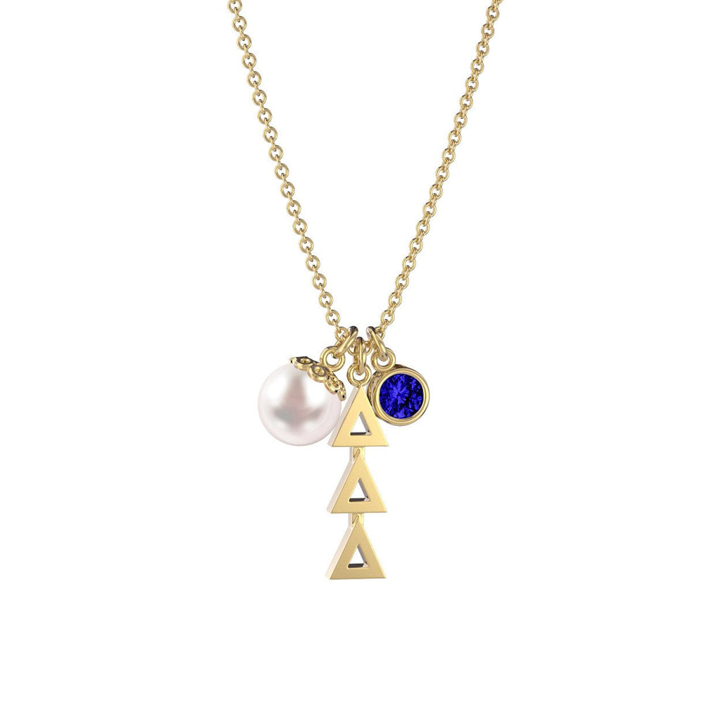 Delta Delta Delta Triple Charm Necklace