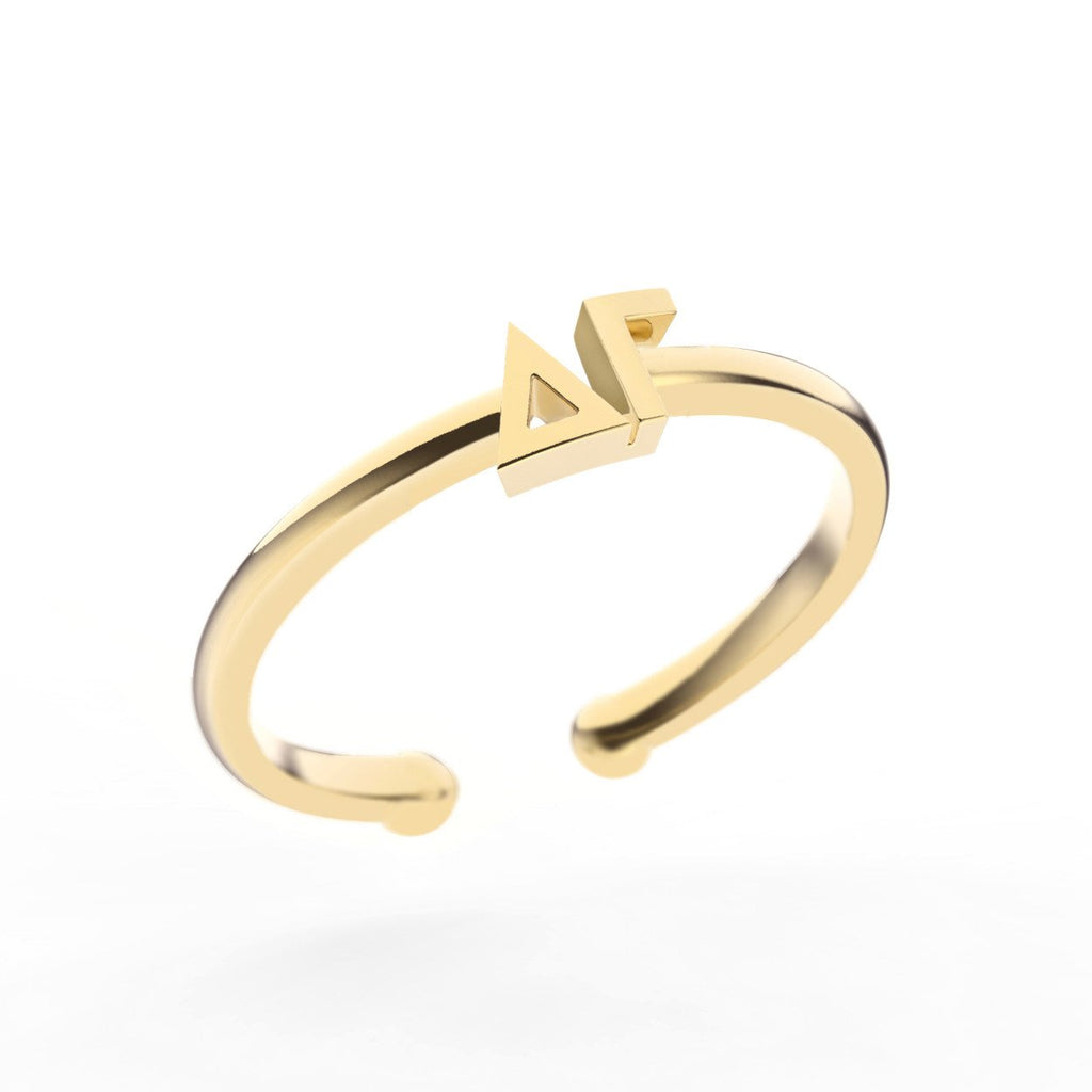 Delta Gamma Thin Band Letter Ring