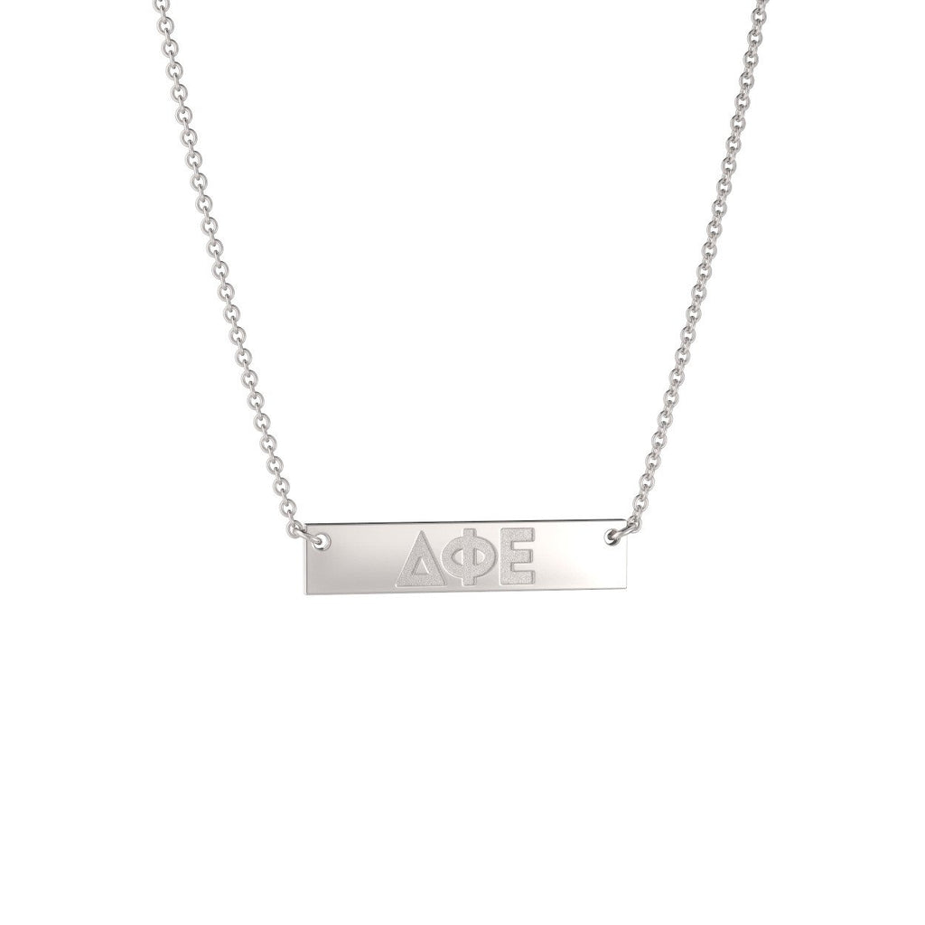 Delta Phi Epsilon Petite Bar Necklace