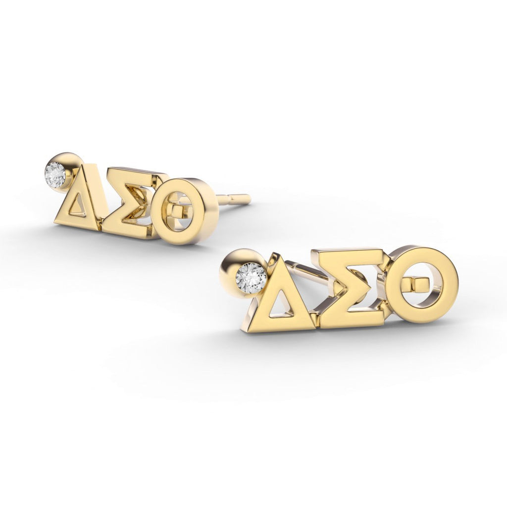 Delta Sigma Theta Letter Studs With Stone