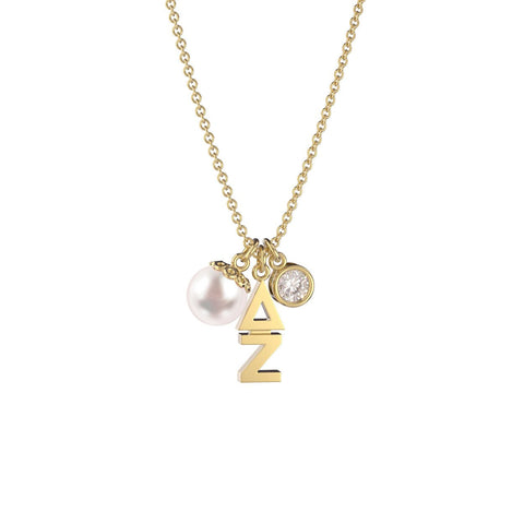 Delta Zeta Triple Charm Necklace
