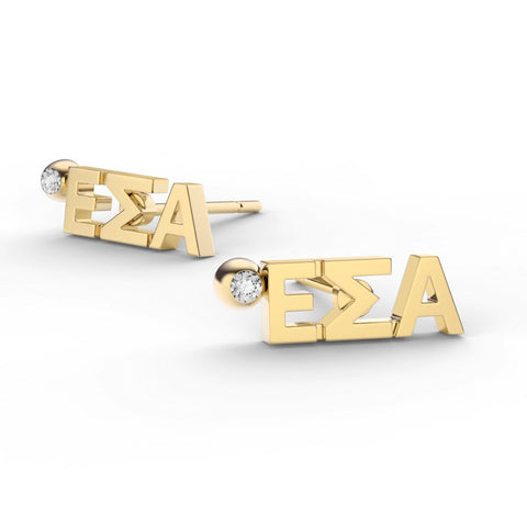Epsilon Sigma Alpha Letter Studs With Stone