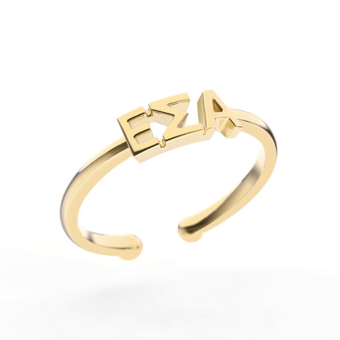 Epsilon Sigma Alpha Thin Band Letter Ring