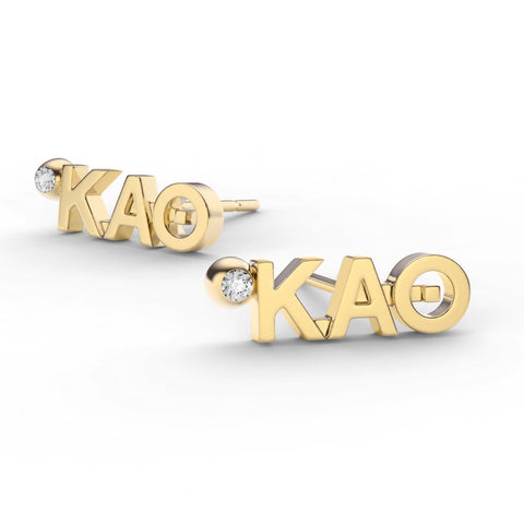Kappa Alpha Theta Letter Studs With Stone