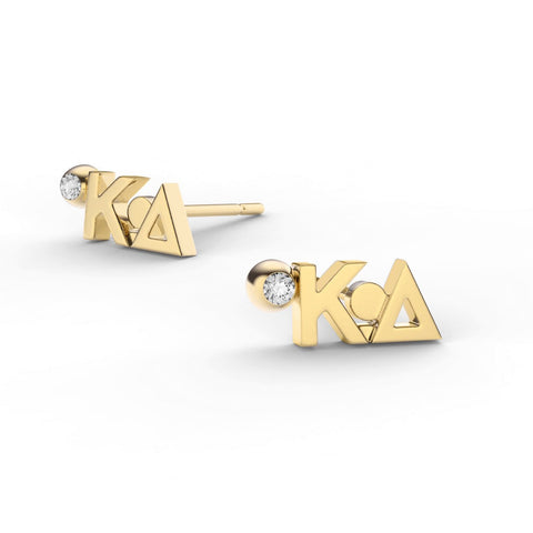 Kappa Delta Letter Studs With Stone