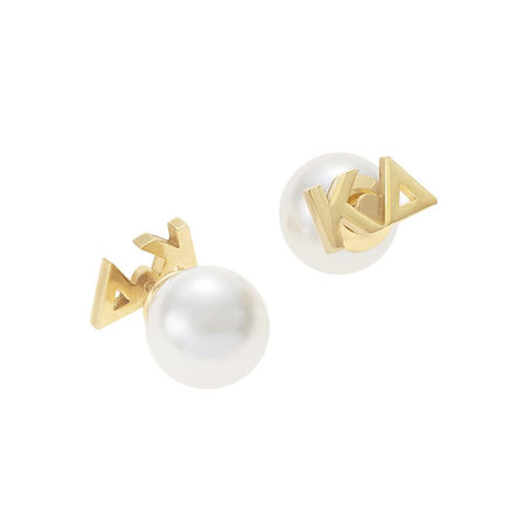Kappa Delta Letter Studs with Pearl Backs