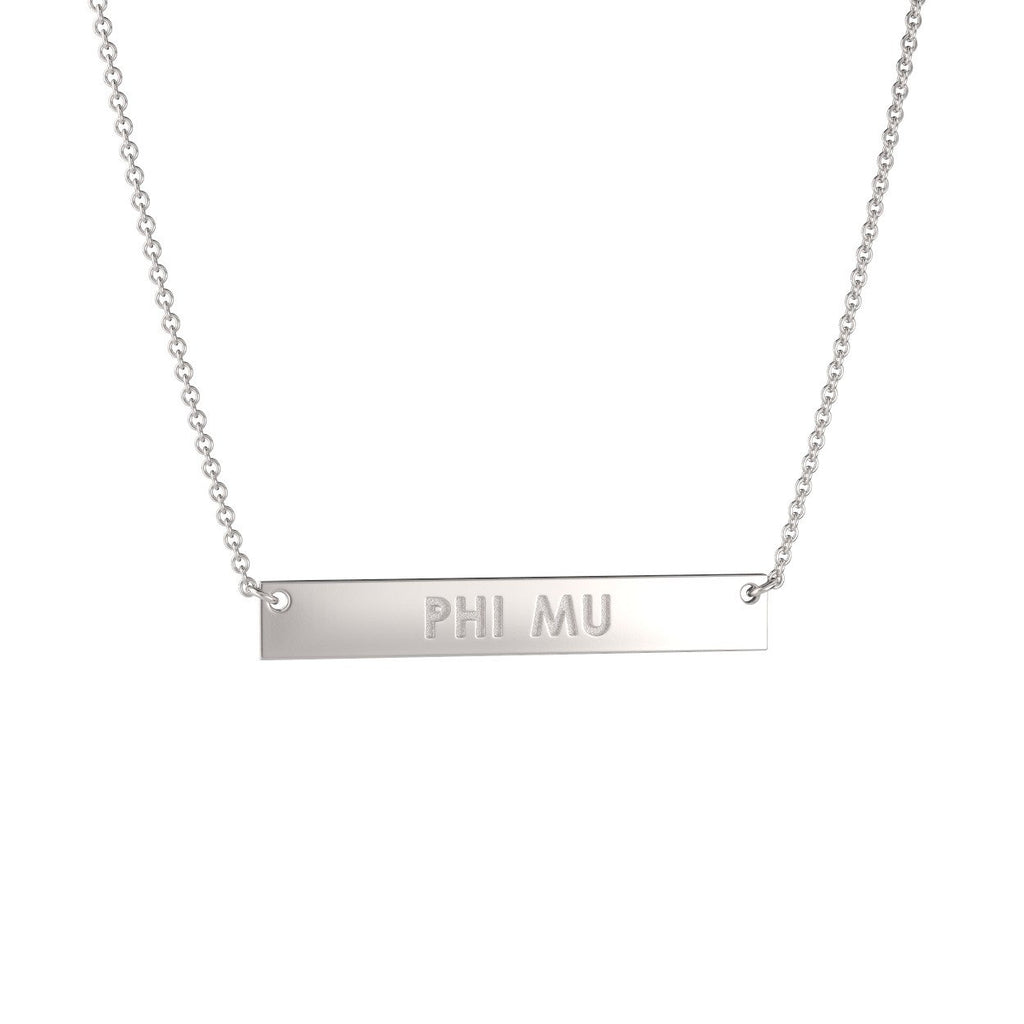 Phi Mu Bar Necklace