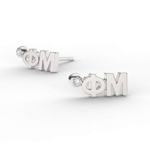 Phi Mu Letter Studs With Stone