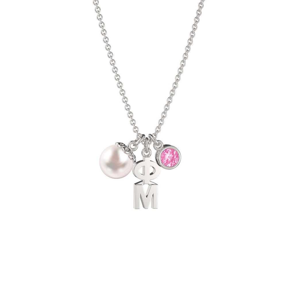 Phi Mu Triple Charm Necklace