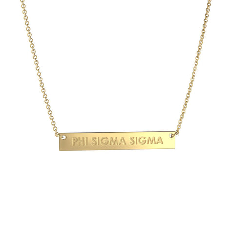 Phi Sigma Sigma Bar Necklace
