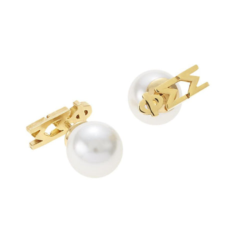Phi Sigma Sigma Letter Studs with Pearl Backs