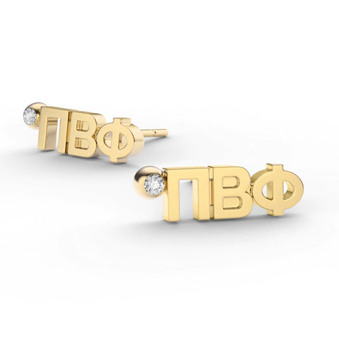Pi Beta Phi Letter Studs With Stone