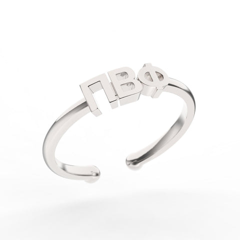 Pi Beta Phi Thin Band Letter Ring
