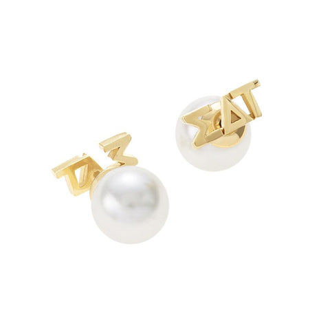 Sigma Delta Tau Letter Studs with Pearl Backs
