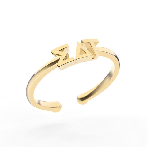Sigma Delta Tau Thin Band Letter Ring