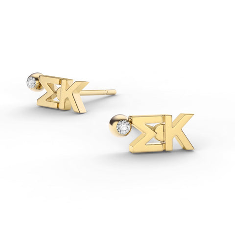 Sigma Kappa Letter Studs With Stone