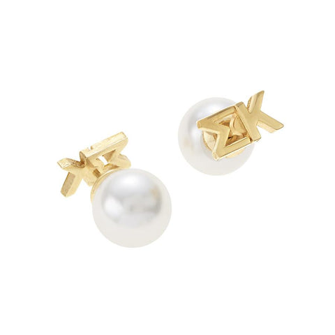 Sigma Kappa Letter Studs with Pearl Backs