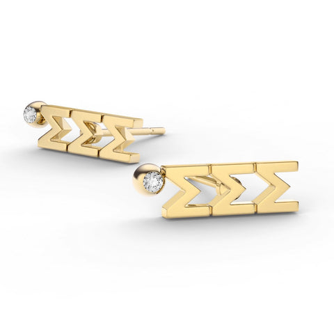 Sigma Sigma Sigma Letter Studs With Stone