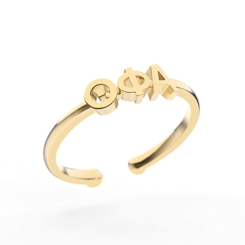 Theta Phi Alpha Thin Band Letter Ring
