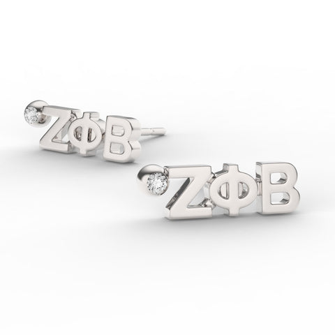 Zeta Phi Beta Letter Studs With Stone
