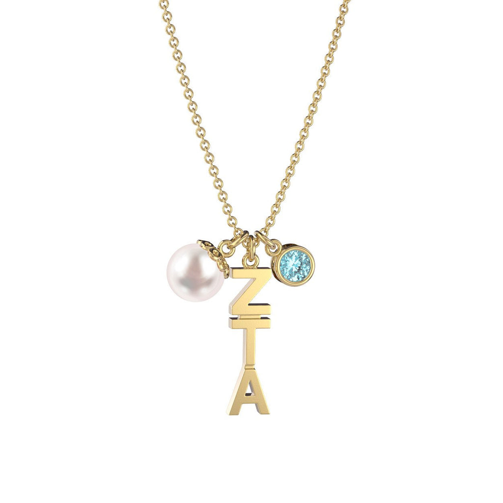 Zeta Tau Alpha Triple Charm Necklace