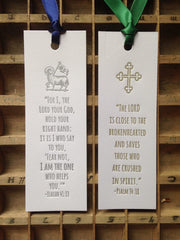 SET OF 5 Letterpress Bible Verse Scripture Bookmarks