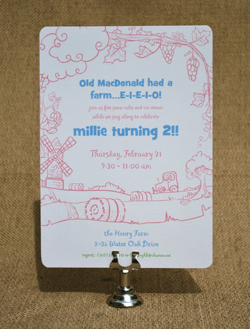 Old MacDonald Had a Farm Birthday Invitation