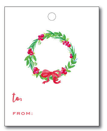 Christmas Tags - Berry Wreath to/from