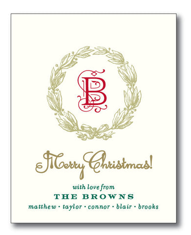 Christmas Tags - Classic Christmas Wreath with monogram