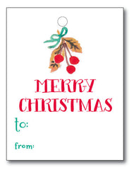 Christmas Tags - Watercolor Cherries