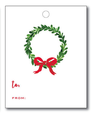 Christmas Tags - Watercolor Wreath with Bow to/from