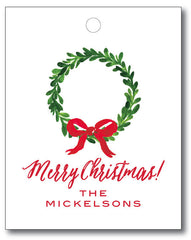 Christmas Tags - Watercolor Wreath with Bow