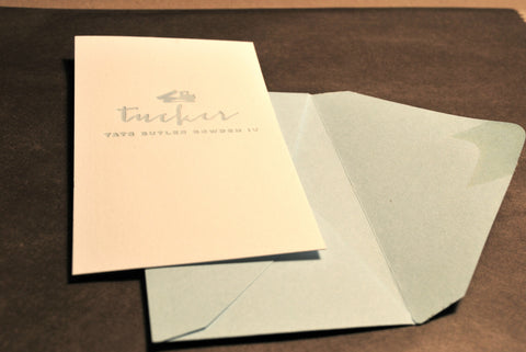 Long Vertical Letterpressed Truck Enclosure cards (Qty. 24)