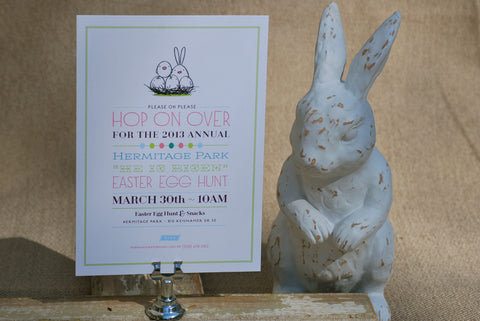 Hop On Over Easter Egg Hunt Invitation