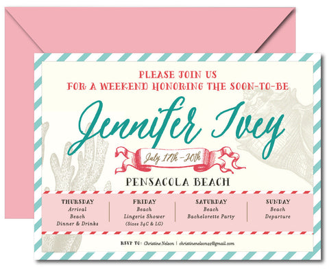 Bachelorette Beach Weekend Invitation - Qty 10