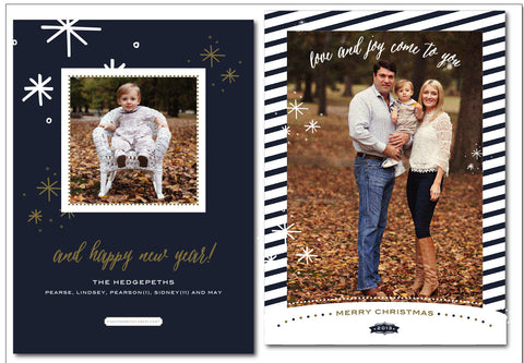 Navy & Gold Snowflake Starry Eve Christmas Card