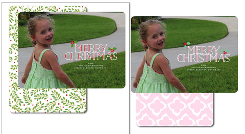 Sweet Pink Merry Christmas Card