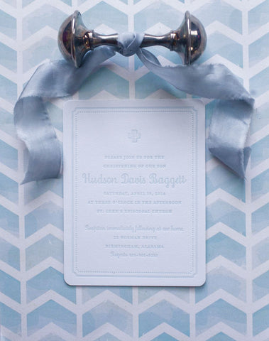 Letterpressed Christening Invitation