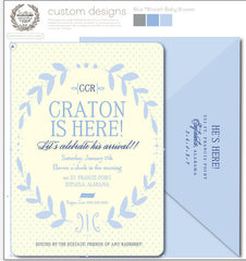 Blue Wreath Invitation