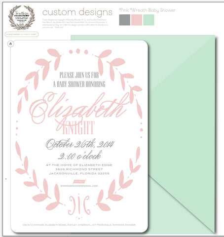 Pink Wreath Invitation