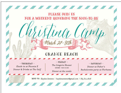 Bachelorette Beach Weekend Invitation