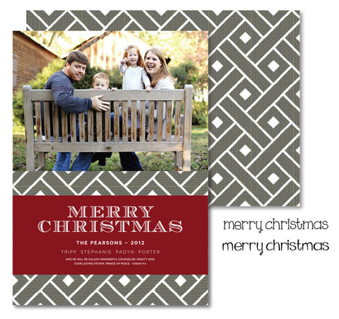 Red & Grey Trellis Christmas Card