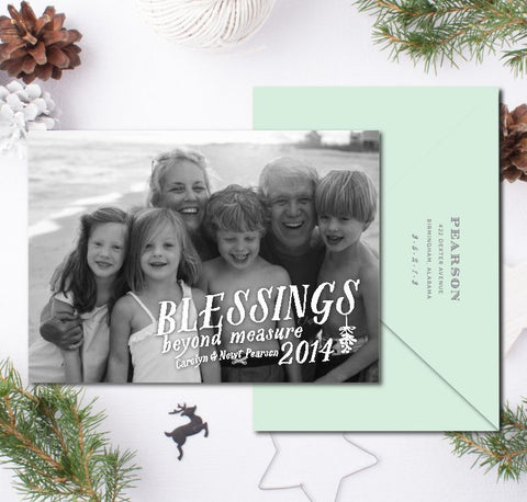 Blessings Beyond Measure Christmas Card + Return Addressing