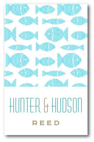 SET OF 2 - Blue Fish Bag Tags