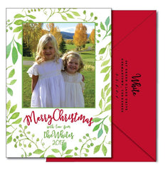 Watercolor Greenery Christmas Card