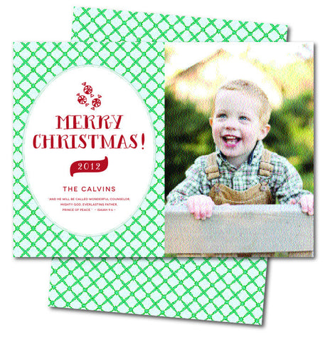 Greenish Blue Check Christmas Card