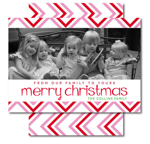 Peppermint Chevron Christmas Card
