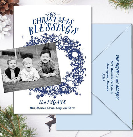 Christmas Blessings Flat Printed with + Stick Down Photo
