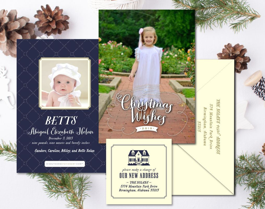 birth announcement christmas card new address combo