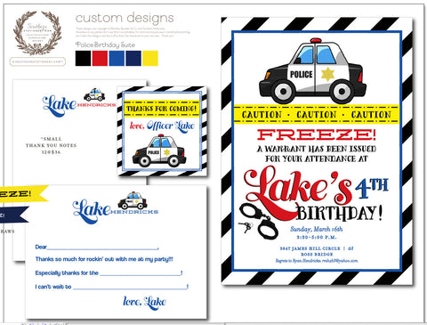 Police Car Invitation Party Suite
